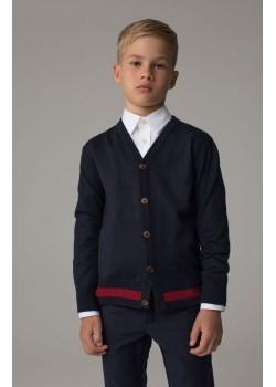Школьный кардиган с полосой Марсала для мальчика