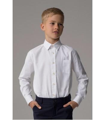 """Школьная белая рубашка """"Оксфорд"""" для мальчика"""